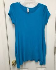 Moa USA EXTRA SOFT Short Sleeve Shirt/ Blue With Pockets For Women Size S