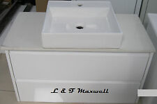 Wall Hung Finger-Pull Drawer VANITY with Stone Bench and Ceramic Basin 900mm