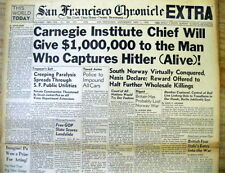 BEST 1940 display newspaper 1 million $ Reward offered 4 CAPTURE of HITLER alive