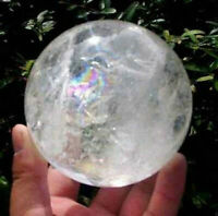 NATURAL RAINBOW CLEAR QUARTZ CRYSTAL SPHERE BALL HEALING GEMSTONE 40mm