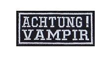 Achtung Vampir Aufnäher Biker Patch Aufnäher Kutte Dracula Blut Gothic Black MC