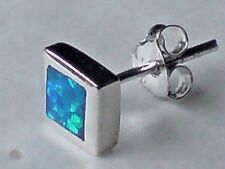 SINGLE STERLING SILVER 8mm.STUD EARRING WITH A BLUE OPAL CABOCHON STONE £6.95nwt