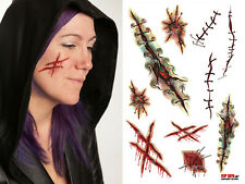 HALLOWEEN SCARS (C) NURSE STITCHES,FACE WOUNDS,FAKE BLOOD TATTOOS FANCY DRESS
