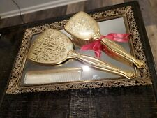 Vintage 4 piece Vanity Set Brush Comb Hand Mirror Dresser Top Set gold floral
