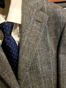 Cantarelli Gray Prince of Wales Check Suit, Flat Front, Time Capsule Mint, 38R