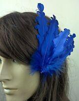 blue feather fascinator millinery hair clip wedding piece ascot race dance