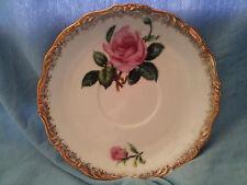"""Vintage Tea Cup Saucer Pink Red Roses Flowers Gold Gilded Trim Japan 5.5"""""""