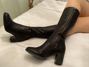 Timberland Black Leather Knee High Biker Boots Size 6 EUR 39 US 8