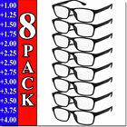 Внешний вид - Mens Womens Reading Glasses 8 PACK Square Frame Readers Unisex Style Specs NEW