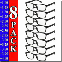 Mens Womens Reading Glasses 8 PACK Square Frame Readers Unisex Style Specs NEW