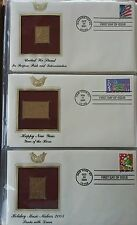 3 different beautiful 22K Gold Proof Stamps & 1st Day Covers