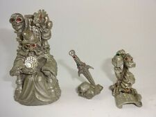Vintage Spoontiques Mr965 Wizard, Sunglo 1996 Dragon, & Sword Pewter Figures