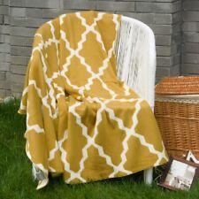 """Battilo Soft Knitted Geometric Patterns Throw Blanket, 50"""" W x 60"""" L, Mustard"""