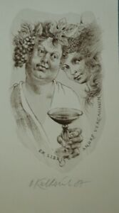 WINE PARTY - LITHOGRAPH-OLDRICH KULHANEK*1940-2013-EX LIBRIS A.VERCAMMENsigned87