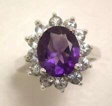 Beautiful Oval Amethyst Ring, Sparkling White Sapphires, Sterling Silver, Size 7