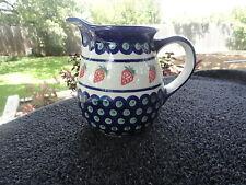 Boleslawiec Poland Polish Pottery Red Strawberries Blue Circles White Pitcher