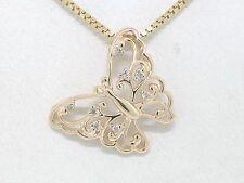 Brillant Anhänger 585 Gelbgold 14Kt Gold 8 Brillanten 0,04ct Schmetterling