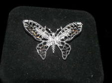 Silvertone Openwork Butterfly Pin Brooch Vintage Sarah Cov Signed Marked