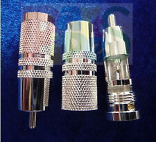 pair Pure Copper OFC Silver-Plated RCA Connector Plug for DIY Audio Cable 10mm