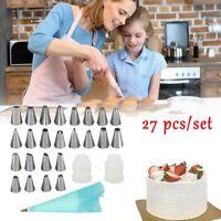 27Pcs Cream Pastry Bag Cake Decoration Icing Piping Nozzles Tube Mold Baking