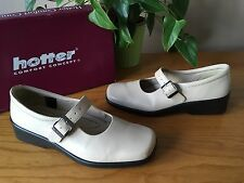 Ladies Hotter Turn beige leather Mary Jane casual wedge shoes UK 5 EU 38 STD
