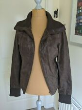 Tall New Look Brown Leather Jacket Size 16