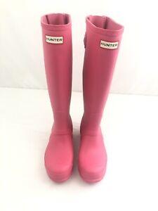 HUNTER Women's Matte Waterproof  Rain BOOTS Original Tall - PINK Size 6