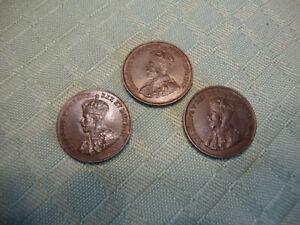 AU 1922 (Key Date), 1921, 1920 Canada Small Cents