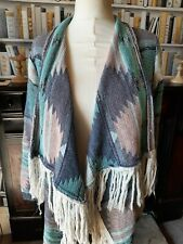 LABEL BE Boho Hippie Multi Coloured Tassel Fringed Cardigan Green Pink size 20