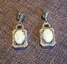 Vintage Pair of Art Deco 925 Sterling Silver & Opal Moon Stone Drop Earrings