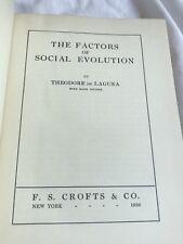 The Factors Of Social Evolution, Theodore de Laguna, First Edition/Printing 1926