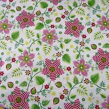 Art Deco Quality  Cotton Fabric by Benartex, Red, Green on White, Per 1/2 Yd