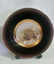 "The Art Of Chokin 24KT Gold Edged Collector 6"" Plate Sea lion Seal Adult W/Pup"