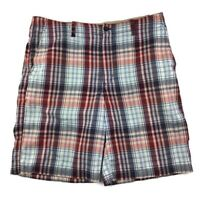 Izod Blue & Red Plaid Cotton Chino Flat Front Golf Shorts Mens Size 36