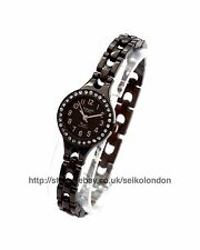 Omax Ladies Diamonte Dial Watch, Black Finish, Seiko (Japan) Movt. RRP £49.99