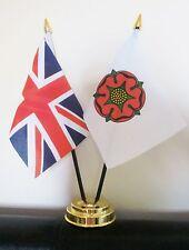 UNION JACK AND LANCASHIRE OLD TABLE FLAG SET 2 flags plus GOLDEN BASE