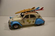 tôle - auto, oldtimer, canard, blanc/bleu, 28 x 11 x 12 cm (2)
