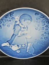 Bing & Grondahl 1985 Children's Day Plate GIRL FEEDING CAT  w/ Cert