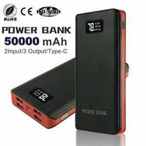 50000mah Portable Power Bank LED 4 USB Battery Charger LCD Display Fast Charging