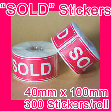 "600 ""SOLD"" sticker/label 40mm x 100mm GST INCLUDED (2 rolls)"