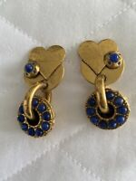 Amazing Vintage Zoe Coste Gold Lapis Lazuli Heart Earrings