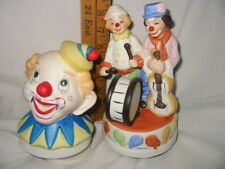 "2 vintage musical clown figurines ""send in the clowns"" porcelain missing tags"