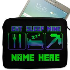 "Personalised Tablet Case GAMER CRAFT NEON Neoprene Sleeve Cover 7"" 8"" 9"" 10"""