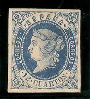 Edifil  59(*)  Isabel II  12 Cuartos Azul  1862   NL1025