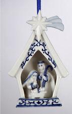 KURT ADLER PORCELAIN DELFT BLUE HOLY FAMILY NATIVITY CHRISTMAS ORNAMENT STYLE A