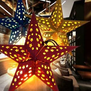 Star Lantern 3D Pentagram Lampshade For Christmas Home Decorations Hanging P9F2