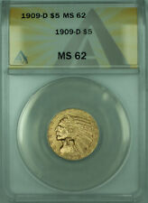 1909-D Indian Half Eagle $5 Gold Coin ANACS MS-62