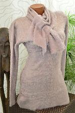 Pullover Kleid Long Pulli Plüsch Strick 2tlg Zopf Muster Schal braun Gr. 40/42