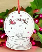 PERSONALISED CHRISTMAS TREE BAUBLE DECORATION GIFT ORNAMENT SNOWGLOBE SILVER