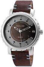 Herrenuhr Grau Braun Silber Metall Leder Quarz Armbanduhr X-2900043-003